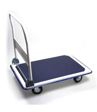 Ocelový plošinový vozík se sklopnou rukojetí, nosnost 300 kg