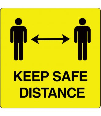 """Keep Safe Distance"" sticker (Maxi-Loka Premium) Yellow & Black"