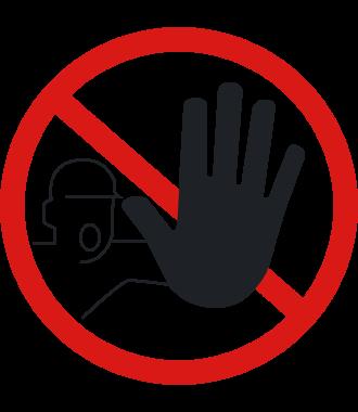 """Protiskluzový podlahový piktogram: """"Nepovolaným vstup zakázán"""""""