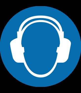"""Protiskluzový podlahový piktogram: """"Používej chrániče sluchu"""""""
