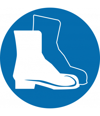 """Protiskluzový podlahový piktogram: """"Používej ochrannou obuv"""""""