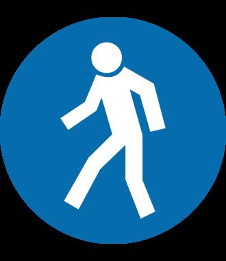 """Protiskluzový podlahový piktogram: """"Pouze pro pěší"""""""