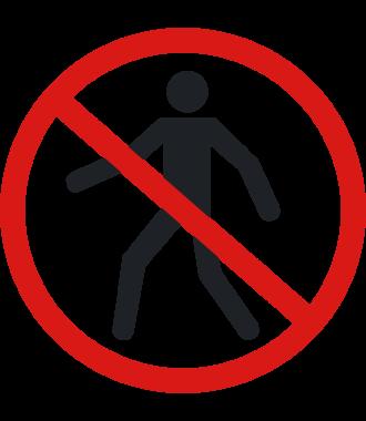 """Protiskluzový podlahový piktogram: """"Zákaz vstupu chodcům"""""""