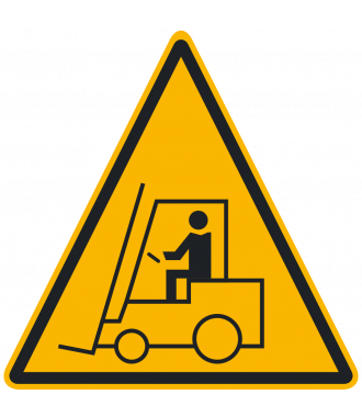"Protiskluzový podlahový piktogram: ""Pozor – provoz vysokozdvižných vozíků"""